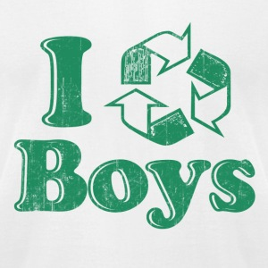 White I Recycle Boys Humor T-Shirts - Men's T-Shirt by American Apparel