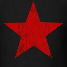 Black Red Star faded  T-Shirts