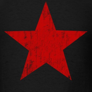 Black Red Star faded  T-Shirts - Men's T-Shirt