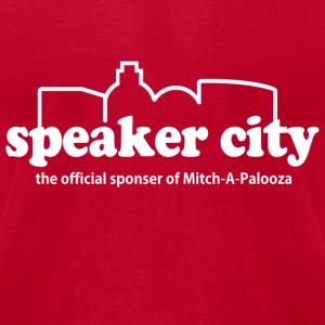 Red Old School Speaker City  T-Shirts - Men's T-Shirt by American Apparel