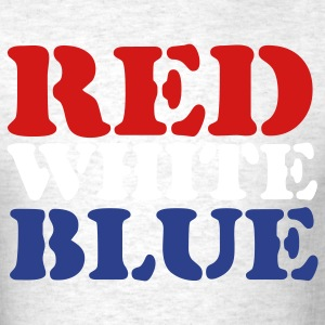 Ash  Red White Blue T-Shirts - Men's T-Shirt