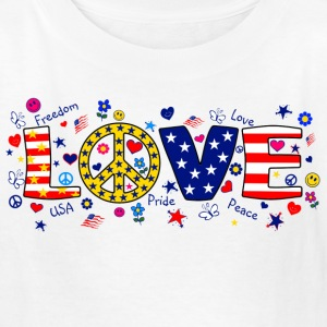 White American Love with peace sign Kids' Shirts - Kids' T-Shirt