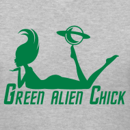 Design ~ Green Alien Chick - Planet Girl - Women's V-Neck T