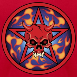 Red Flaming Devil Skull T-Shirts - Men's T-Shirt by American Apparel
