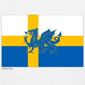 Sweden Wales Mixed Flag - Women's V-Neck T-Shirt