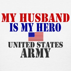 White HUSBAND HERO ARMY Women's T-Shirts