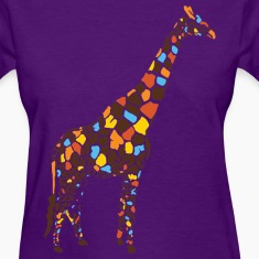 Light blue Colorful Giraffe Women's T-Shirts