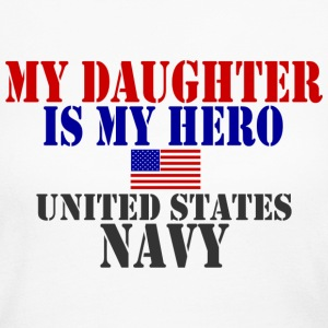 White DAUGHTER HERO US NAVY Long Sleeve Shirts - Women's Long Sleeve Jersey T-Shirt