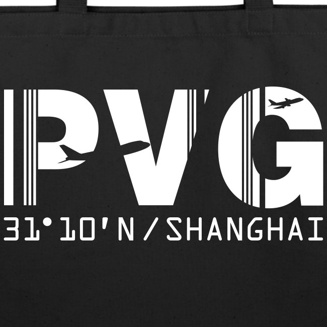 Shanghai China Airport Code PVG Tote / Beach Bag Black