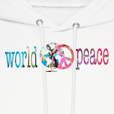 White WORLD PEACE Hoodies