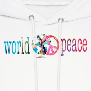 White WORLD PEACE Hoodies - Men's Hoodie