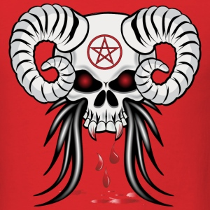 Red Ram Horned Skull T-Shirts - Men's T-Shirt