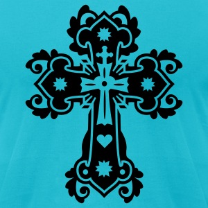 Turquoise flourish gothic cross T-Shirts - Men's T-Shirt by American Apparel