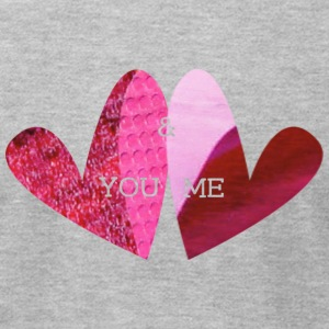 Heather grey YOU & ME (hearts) T-Shirts - Men's T-Shirt by American Apparel