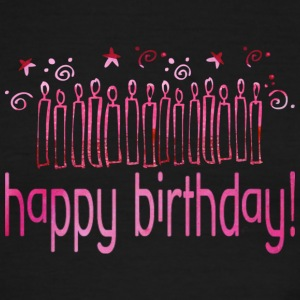 White/red HAPPY BIRTHDAY (pink candles) T-Shirts - Men's Ringer T-Shirt