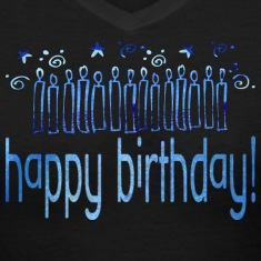 Black HAPPY BIRTHDAY (blue candles) Women's T-Shirts