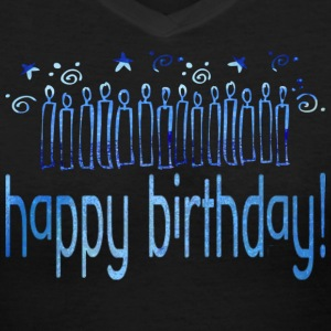 Black HAPPY BIRTHDAY (blue candles) Women's T-Shirts - Women's V-Neck T-Shirt