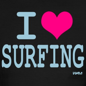 White/navy i love surfing by wam T-Shirts - Men's Ringer T-Shirt