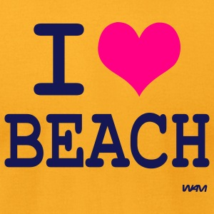 Gold i love beach by wam T-Shirts - Men's T-Shirt by American Apparel