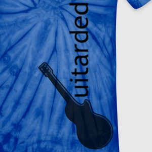 'Guitarded' shirt with vertical 'Guitarded' design  - Unisex Tie Dye T-Shirt