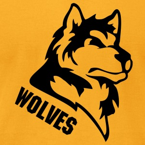 Gold wolf or wolves or huskies custom T-Shirts - Men's T-Shirt by American Apparel