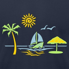 Navy island_paradise_vacation_beach T-Shirts