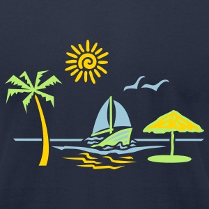 Navy island_paradise_vacation_beach T-Shirts - Men's T-Shirt by American Apparel