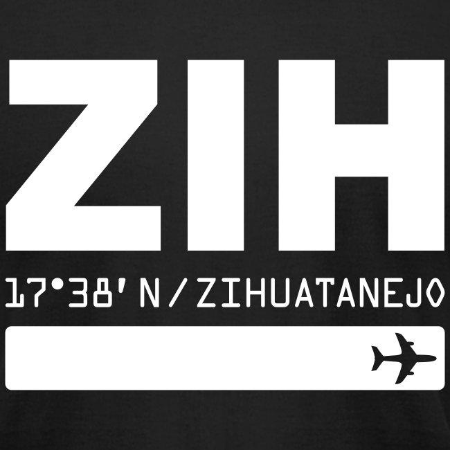 Zihuatanejo Mexico Airport Code ZIH black men's t-shirt solid design