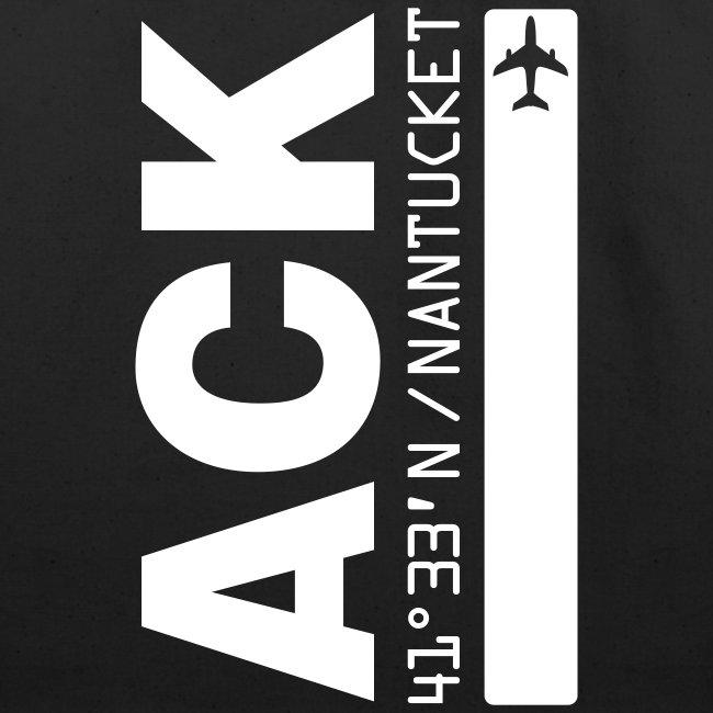 Nantucket airport code ACK tote beach bag black solid design