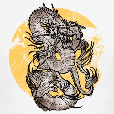 White/navy cool Chinese dragon T-Shirts