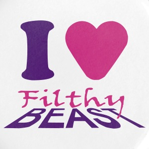 White I Love Filthy Beast Buttons - Large Buttons