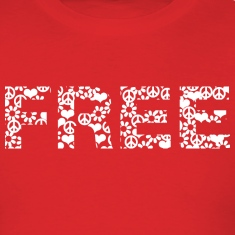 Red free word white with summer of love symbols T-Shirts