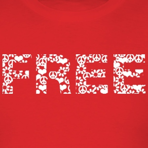 Red free word white with summer of love symbols T-Shirts - Men's T-Shirt