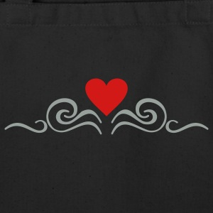 Black swirls 'n heart (2c) Bags  - Eco-Friendly Cotton Tote