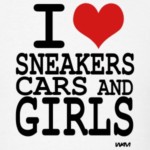 White i love sneakers cars and girls -by wam T-Shirts - Men's T-Shirt