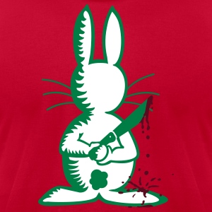 Red bunny the ripper ( b, 3c) T-Shirts - Men's T-Shirt by American Apparel