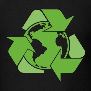Black Recycle Earth Green T-Shirts - Men's T-Shirt