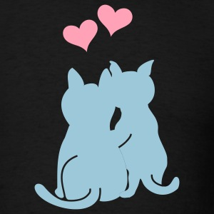 Black cat romance (3c) T-Shirts - Men's T-Shirt