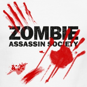 White/black Zombie Assassin Society  T-Shirts - Men's Ringer T-Shirt
