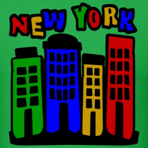 Bright green New York City Brownstones, 4 Color--DIGITAL DIRECT ONLY T-Shirts - Men's T-Shirt