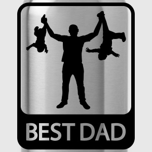Best Dad - Funny Silhouette of Father and Children - Water Bottle