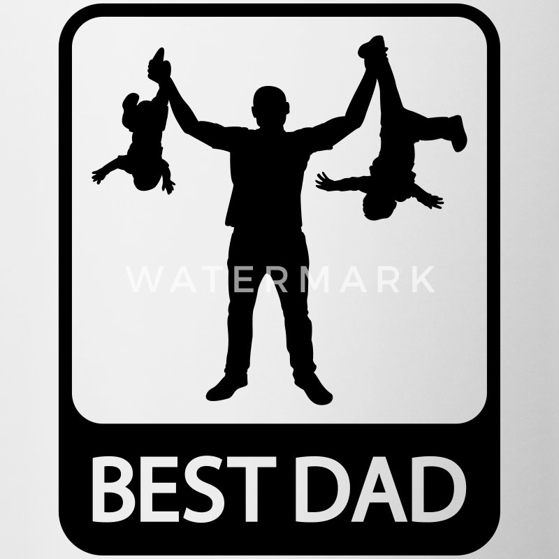 Best Dad - Funny Silhouette of Father and Children Bottles & Mugs - Contrast Coffee Mug