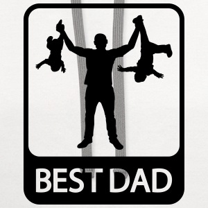 Best Dad - Funny Silhouette of Father and Children - Contrast Hoodie