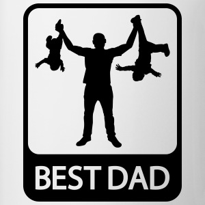 Best Dad - Funny Silhouette of Father and Children - Coffee/Tea Mug