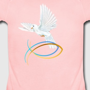 Dove and Fish Symbol-Easter - Short Sleeve Baby Bodysuit