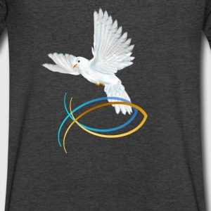 Dove and Fish Symbol-Easter - Men's V-Neck T-Shirt by Canvas