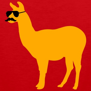 Funny llama with sunglasses and mustache T-Shirts - Men's Premium Tank
