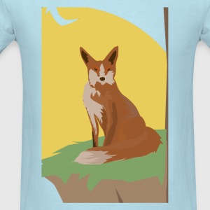 The Lonely Fox Sitting Viewing the Moon - Men's T-Shirt