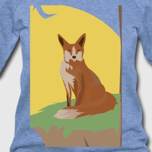 The Lonely Fox Sitting Viewing the Moon - Women's Wideneck Sweatshirt