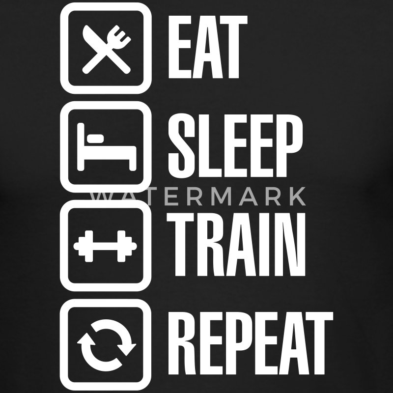 Eat sleep train repeat - bodybuilding Long Sleeve Shirts - Men's Long Sleeve T-Shirt by Next Level